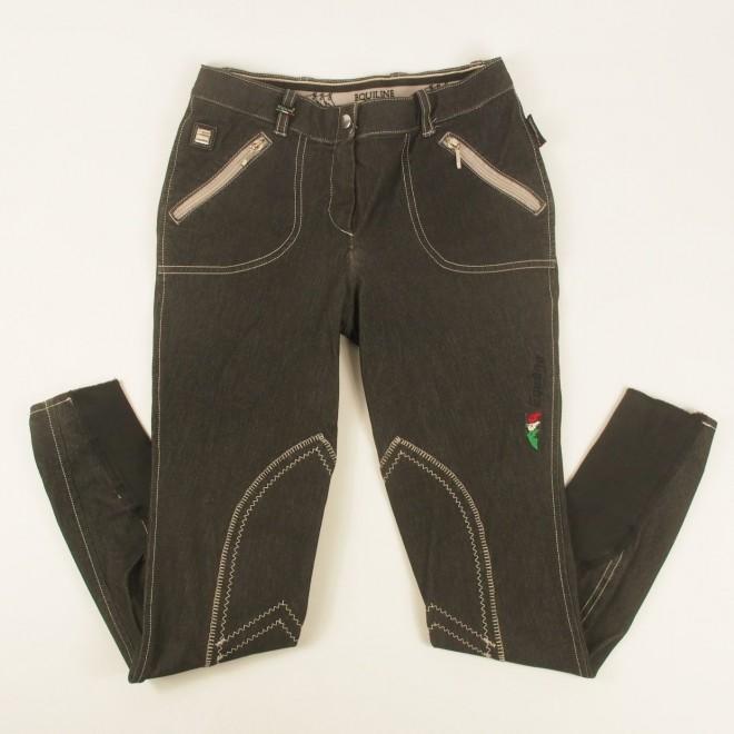 Equiline Jeans-Kniebesatz-Reithose schwarz, Gr. IT42/DE38, super Zustand
