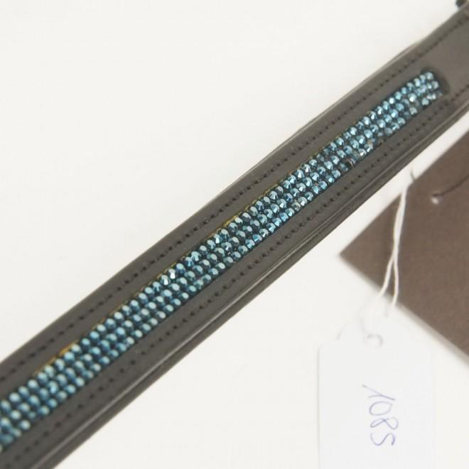 Cavallo Stirnriemen, WB, schwarz m. blauen Glitzersteinen, NEU m. Etikett