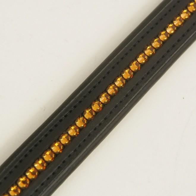 Cavallo Stirnriemen, WB, schwarz m. goldenen Glitzersteinen, NEU m. Etikett